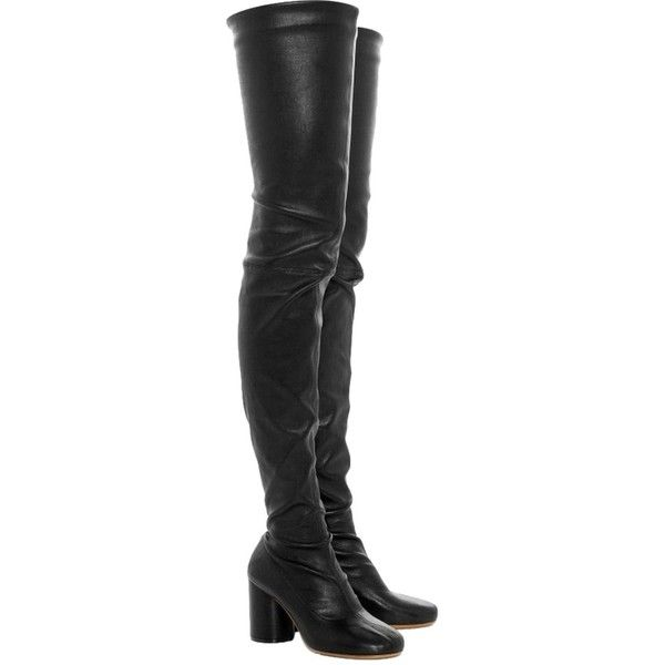 Pre-owned Maison Martin Margiela Thigh High Leather Sexy Chunky Heel... ($759) ❤ liked on Polyvore featuring shoes, boots, black, sexy boots, thigh-high boots, over the knee thigh high boots, sexy black boots and leather boots