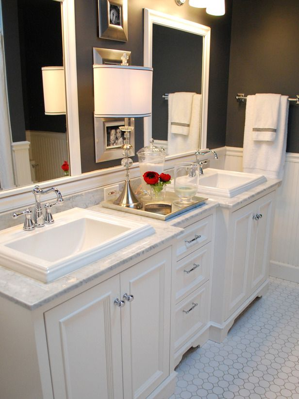 Don't fear black paint. Balance it with materials that reflect light -- like glossy white wainscoting and polished metal.Wall Colors, Bathroom Design, Vanities, Sinks, Traditional Bathroom, Bathroom Ideas, White Bathroom, Master Bathroom, Dark Wall