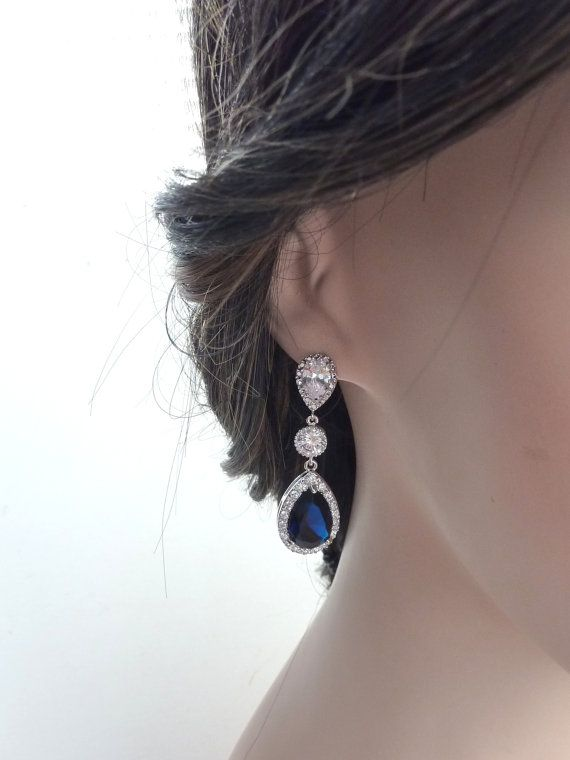 Wedding Bridal Earrings LARGE Halo Dark by JCBridalJewelry on Etsy