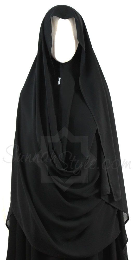 Hooded Wrap Hijab (Black)