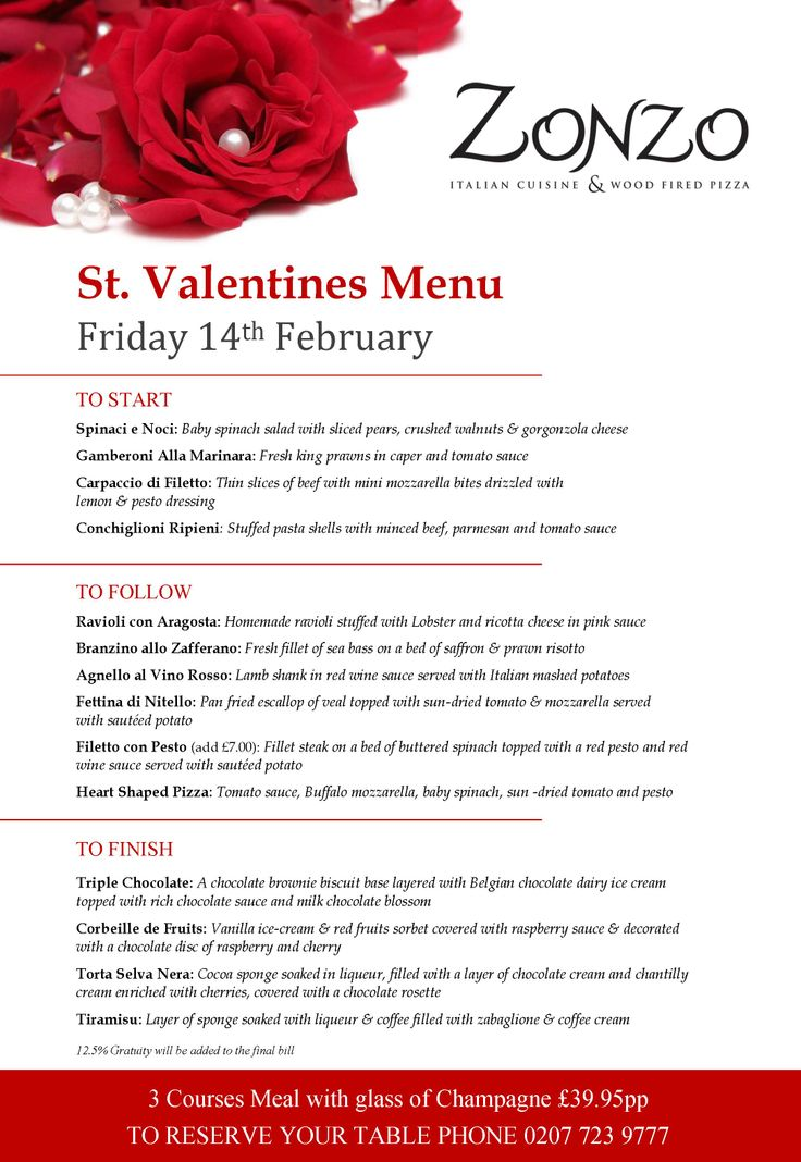 valentine's day menu names