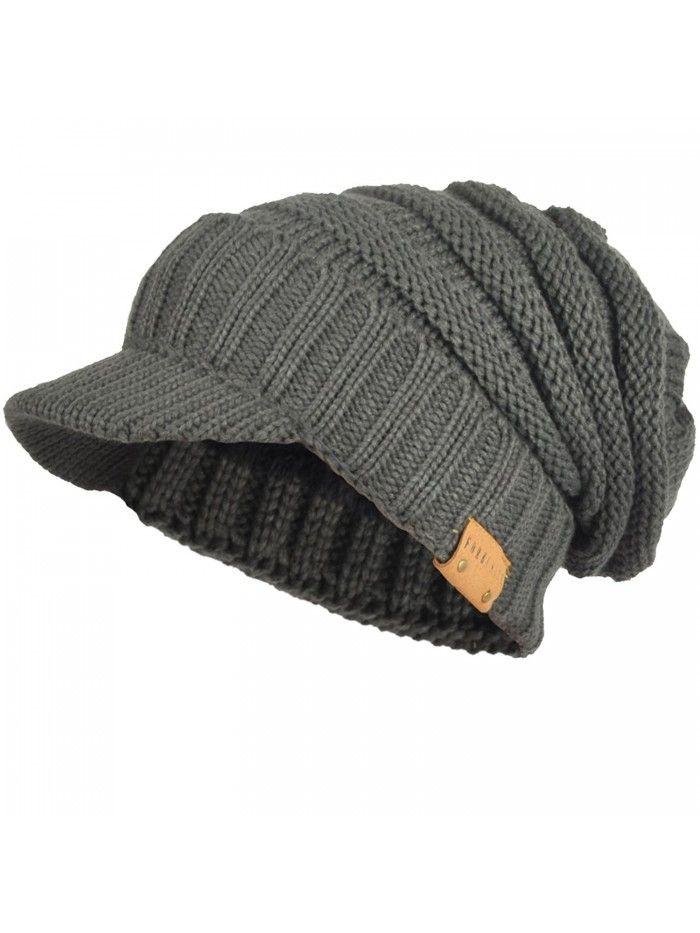 99b921760a2 Mens Womens Thick Fleece Lined Knit newsboy Cap Slouch Beanie Hat ...