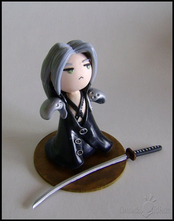 """""""Estuans interius ira vehementi"""" chibi Sephiroth!!  Character based in Final Fantasy games, stylized like a chibi. 4in approx.  Avaliable on Etsy, $15.00"""