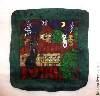 шелковая подушка `Рандеву`-батик (наволочка). Шёлковая наволочка на подушку ,выполнена из натурального шелка атлас-средней плотности.   Авторская ручная роспись по натуральному шёлку -батик.  Краски закреплены -стирать можно,спать -можно!