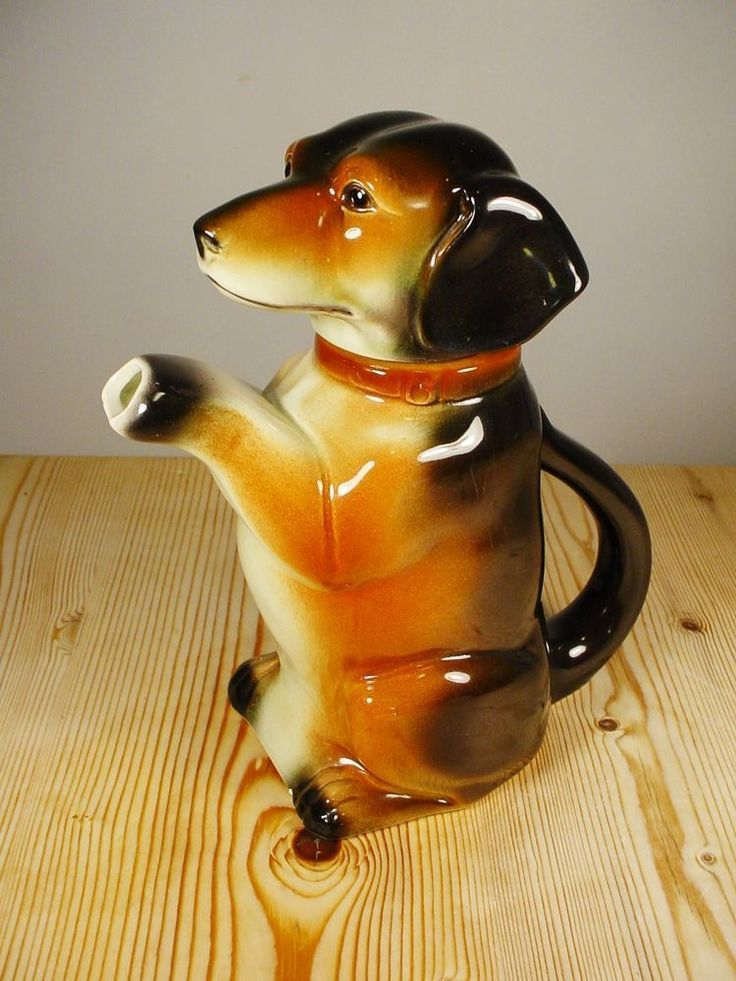 Cortendorf Western Germany Novelty Dachshund Dog Teapot Ceramic Dog Teapot Tea Pot Novelty Teapot ダックスフント