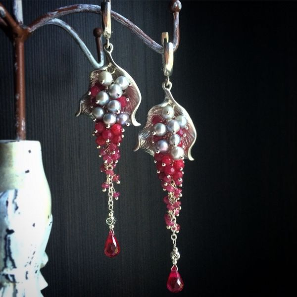 """Купить Серьги """"Страсть"""" - бордовый, рубиновые серьги, серьги с рубином, Серьги-грозди, удлиненные серьги"""