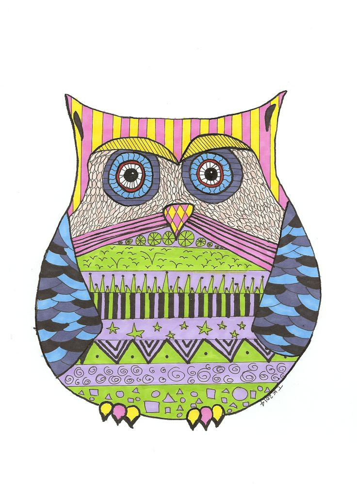 Owly owl in fineliner and letraset markers   Tali Kord