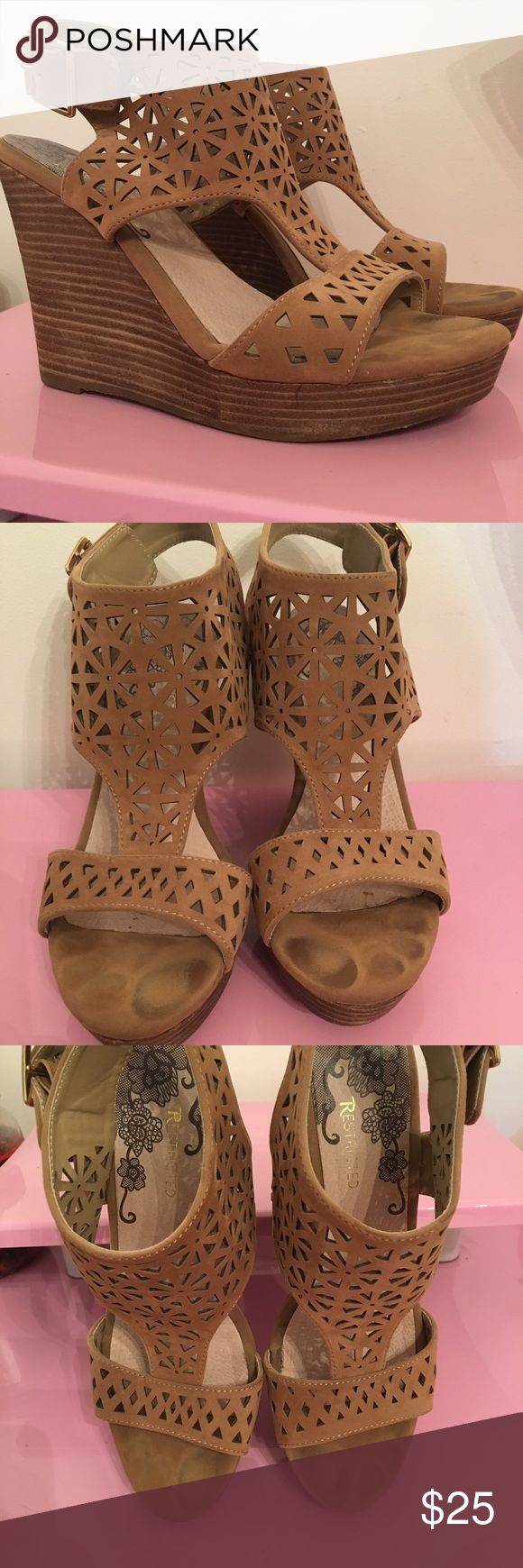 Tan Suede Cut Out Wedges Super cute on! They have been worn but all is pictured! Restricted Shoes Wedges
