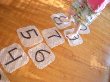 bubble wrap hopscotch.  what a clever idea!
