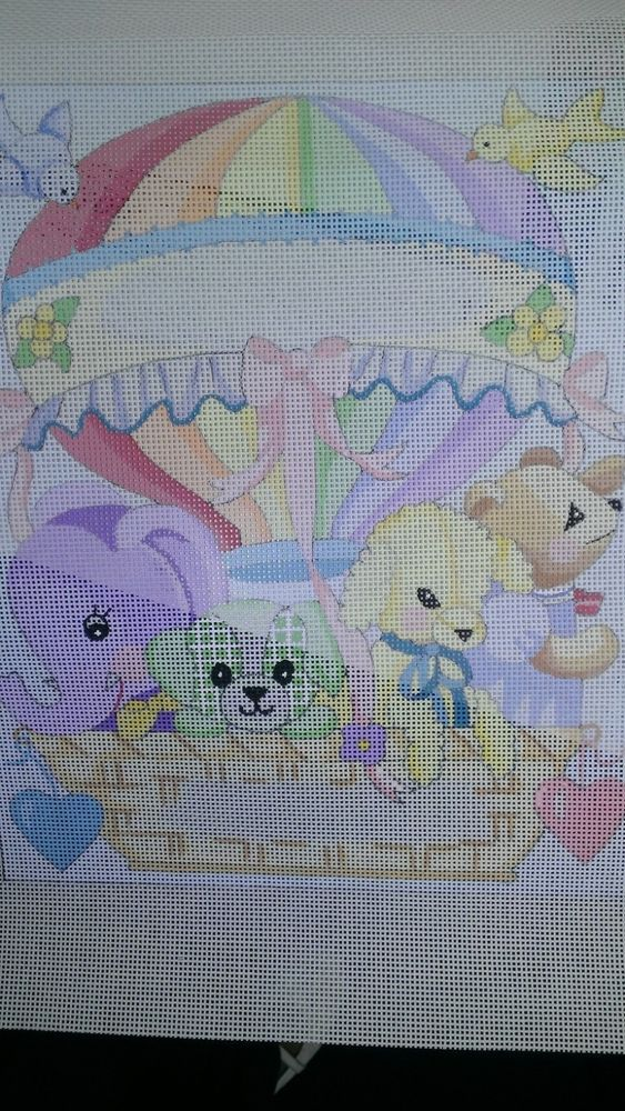 needlepoint canvas a peterson BIRTH ANNOUNCEMENT