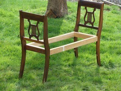 Take the backs of two antique chairs & make a bench, awesome for the foot of the bed or entryway. So simple!