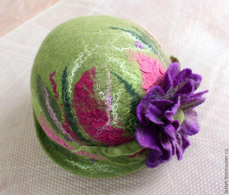"""Купить """"Арт"""" шляпа - зеленый, цветочный, шляпа, шляпка, головной убор, головные уборы"""