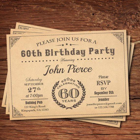 60th birthday invitation man. Retro vintage milestone by CrazyLime