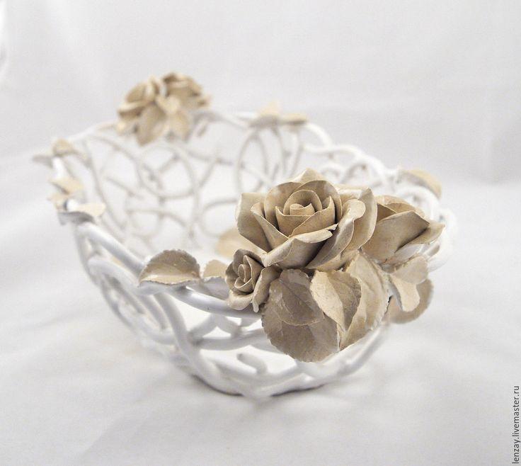 Ceramic bowl | Купить Ажурная фруктовница Шебби Шик овальная - белый, ажурная керамика, плетеная керамика