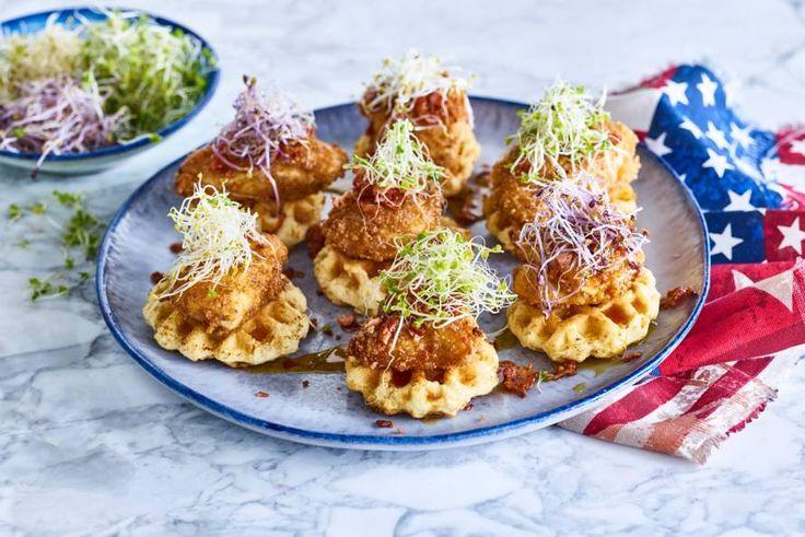 Dit Amerikaanse recept van chicken en waffles is crunchy, hartig, zout en zoet tegelijk - Recept - Allerhande