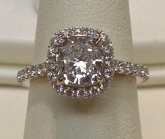 2 carat halo cushion center diamond pave diamond ring on Etsy, $3,250.00