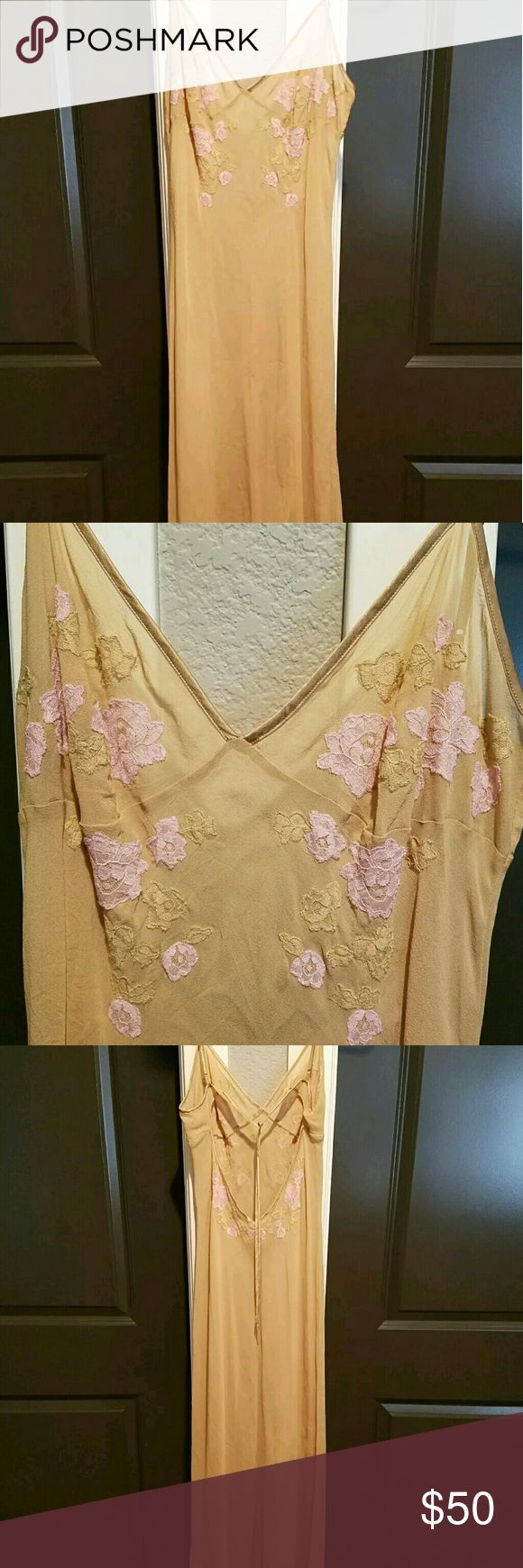 Victoria's Secret 100% Silk Slip Nightgown Neglige Gorgeous 100% silk nightgown in like-new condition!  No flaws whatsoever.  Size medium.  Floral embroidery.  Sheer nude color. Make an offer! Victoria's Secret Intimates & Sleepwear Chemises & Slips