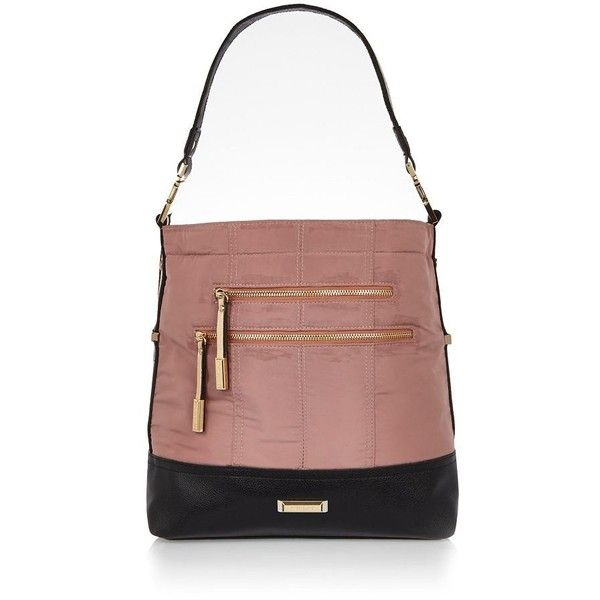 River Island Pink sporty zip slouch handbag (56 AUD) ❤ liked on Polyvore…