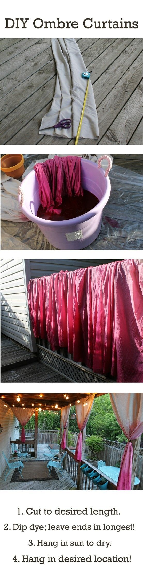 I like the idea of the curtains on the deck. It adds such a soft effect. Add lights and it's perfect decor for your outdoor deck, gazebo or pergola.