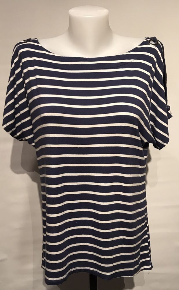 ab2abe63ad6429 Cable   Gauge Blue   White Striped Top Blouse Size Medium Cold Shoulder   fashion  clothing  shoes  accessories  womensclothing  tops (ebay link)