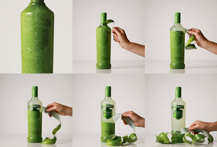 Smirnoff Unwraps New Packaging   the texture of the skin mimics the flavor of the drink: lime, strawberry, passion fruit and by incorporating a perforated sleeve, opening the bottle becomes an interactive user experience - as if you were peeling the lime yourself.