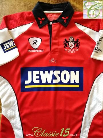 Official RugbyTech Gloucester home rugby shirt from the 2007/2008 season.