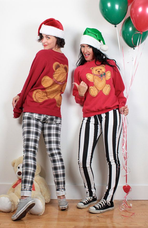 Vintage Tacky Christmas Sweater Teddy Bear Holly Print Sweatshirt Ugly Christmas Sweater Party Ugly Xmas Jumper Red Bow Tshirt S M Medium by ShopTwitchVintage #1980s #80s #ugly #christmas #sweater #sweatshirt #jumper #kawaii #pullover #tshirt #etsy #vintage #matching #couples #party #holiday