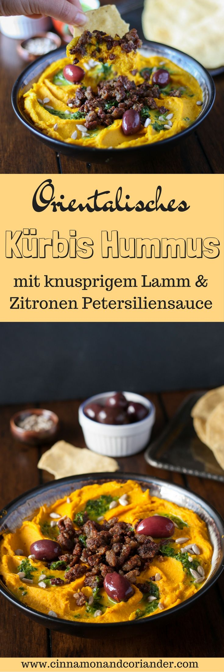 Kürbis Hummus mit knusprigem Lammhack und Zitronen Petersiliensauce