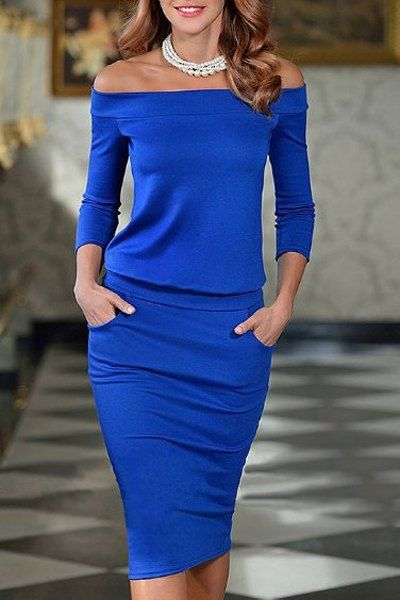 Brief Women s Off The Shoulder Blue Long Sleeve Dress