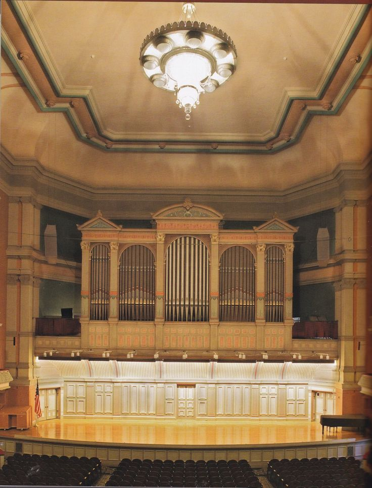 The stage and organ in Troy Music Hall, Troy, NY