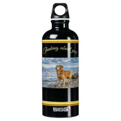 Golden Retriever standing on the blue ocean rocky Aluminum Water Bottle - blue gifts style giftidea diy cyo