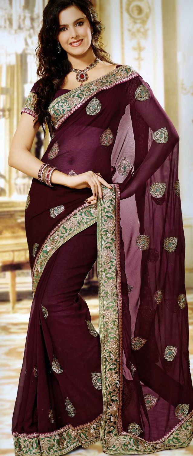 #Wine Faux Chiffon #Saree with Blouse @ $63.90