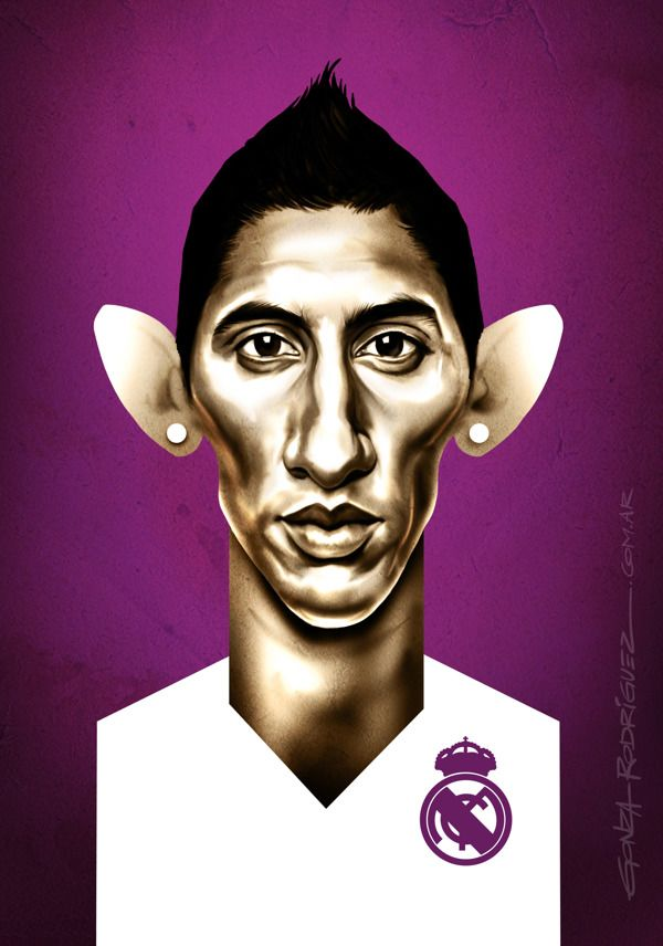 Caricature of Angel Di Maria - Football Caricatures and Illustrations by Gonza Rodriguez, via Behance
