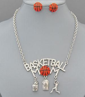 Basketball Mom Charm Necklace Set