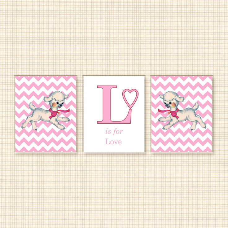 NURSERY DECOR Girl - Retro Baby Lamb 3 8x10 Panels, Love, Forest Animal, Custom, Pink, Baby's Room Decor, Quote, Print, Instant Download by DigitalPackages on Etsy