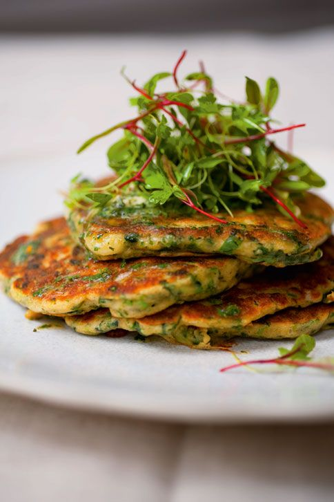 "Green Pancakes with Lime Butter from Plenty by Yotam Ottolenghi.  Spinach and green onions give these light pan-fried cakes the green.  Served with baked salmon, these made a delicious and eye-catching meal. Note the ""Click here"" link that gives you a printer-friendly format, with ingredients laid out in easy-to-follow lists."