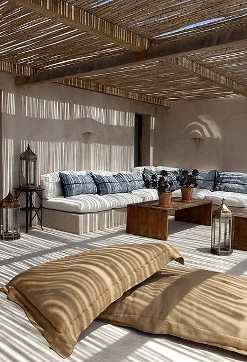 Living Room Design with Rustic Textiles