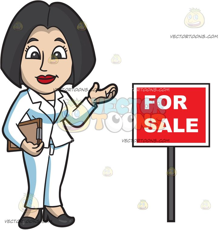 A Female Real Estate Agent During An Open House:   A woman with chic black hair wearing a white pantsuit black heels smiles while holding a brown clipboard in her right hand as she stands beside a red for sale sign