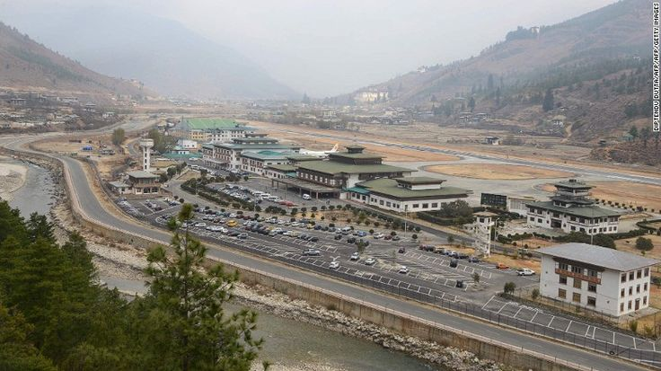 <strong>Paro Airport: </strong>Bhutan has just one airport. Only a handful of pilots are licensed to fly the hair-raising manual approach through the mountains.