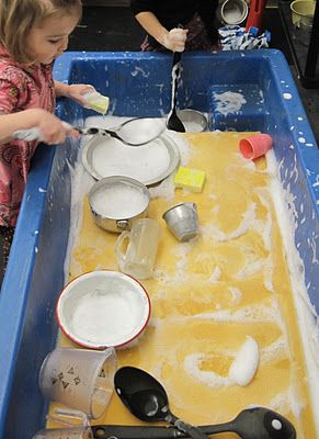 """GIANT SPONGE - NEW AXIOM"" Sand & Water Tables.  ""What is a giant sponge?  It is a piece of foam cut from a foam mattress to fit into the sensory table ... Because the children can make impressions on the sponge, they can also use the utensils provided to make imprints ... This year for the first time the children started to use the surface of the Giant Sponge to draw things with their fingers."" Originally Pinned by Alec Duncan of http://childsplaymusic.com.au/"