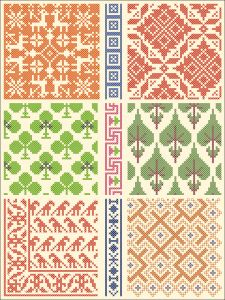 All over patterns for cross stitch or knitting.