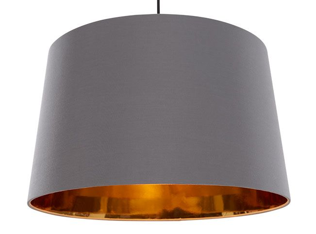 Hue Extra Large Tapered Pendant Shade, Grey and Copper