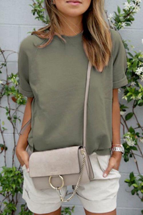 neutral tee, shorts, and a chloe faye crossbody bag