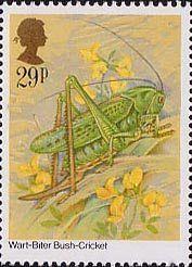 Insects 29p Stamp (1985) Decticus verrucivorus (bush-cricket)