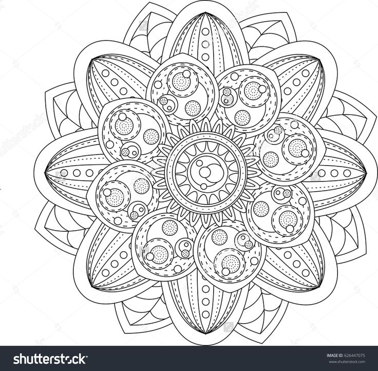 Black And White Pattern For Adult Coloring Book In Doodle Style Floral Elements Zentangle