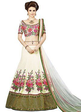 Cream Raw Silk Lehenga Choli