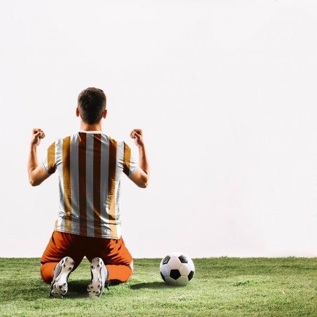Download Free Celebrating Football Player Mockup In Psd Football Player Mockup Psd Football Players Football Celebrations Football