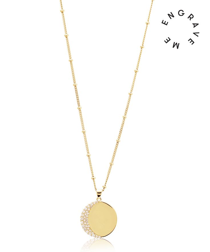 Your everyday necklace is here.  This round disc necklace with a white topaz-encrusted crescent works great on its own, or when layered up with your other favourite pieces.  Free engraving: the back of this necklace can be engraved with 1 letter / initial.
