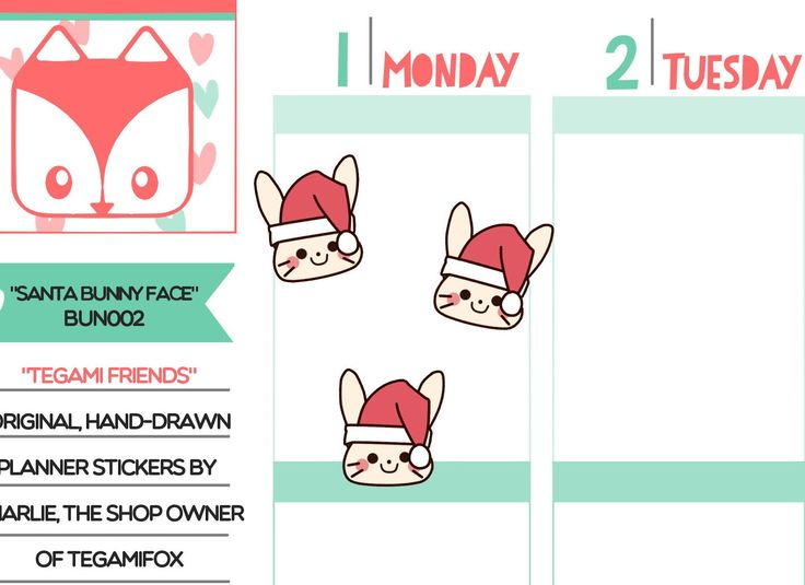 Santa Hat Bunny Stickers - Tegami Friends Emoji - Kawaii Christmas Planner - Hand Drawn Deco Stickers - BUN002 by TegamiFox on Etsy https://www.etsy.com/listing/492311387/santa-hat-bunny-stickers-tegami-friends