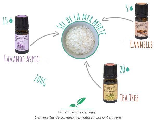 Un bain pour lutter contre les mycoses et les champignons avec 4 ingrédients !  - 20 gouttes d'huile essentielle de Tea Tree   - 15 gouttes d'huile essentielle de Lavande Aspic   - 5 gouttes d'huile essentielle de Cannelle   - 100 g de sel de la Mer Morte